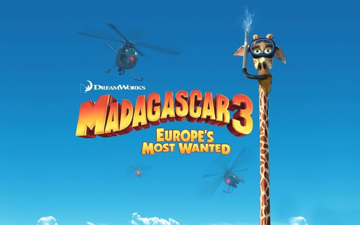 Madagascar Europes Most Wanted Cartoon Giraffe Melman Sea Sky Helicopters Dreamworks
