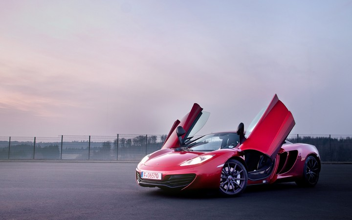 McLaren MP4 12C Red Color Supercar Doors Opened Car