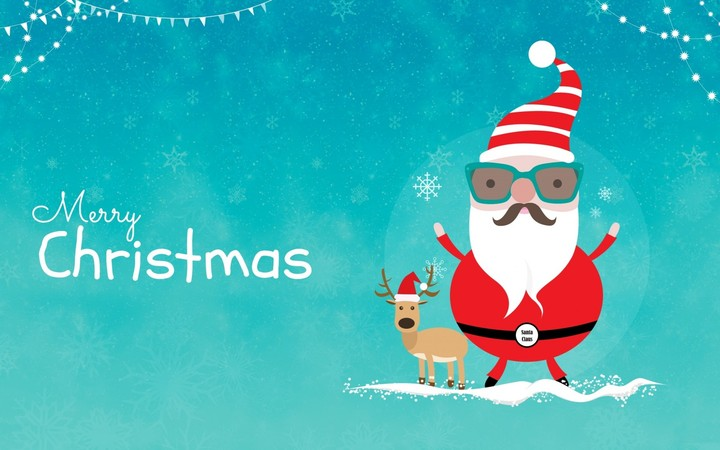 Santa Claus with Reindeer on blue background in christmas
