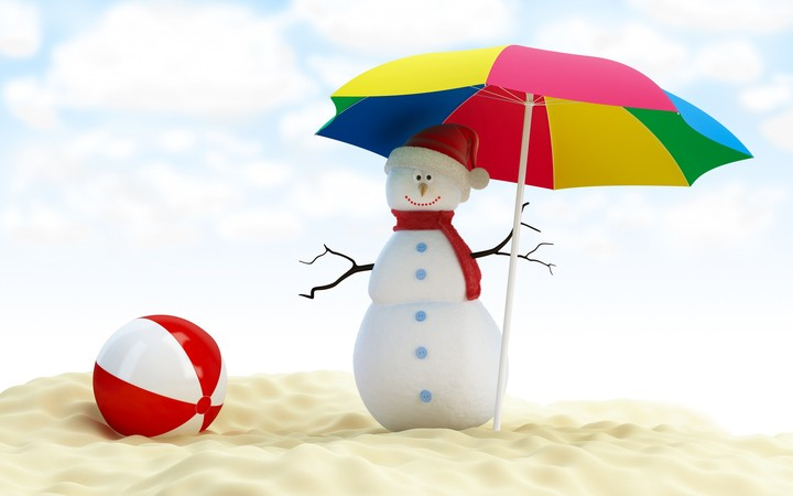 Snowman under umbrella on the beach with red ball hd