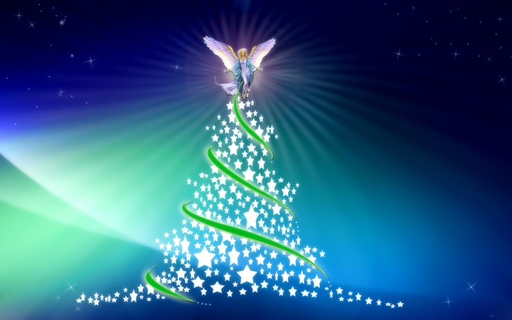 Christmas Tree with a Angle in the top hd wallpaper by LadyGaga ...