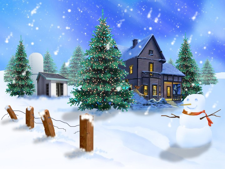 Christmas scene with snowmen, christmas tree and snowy house in the night