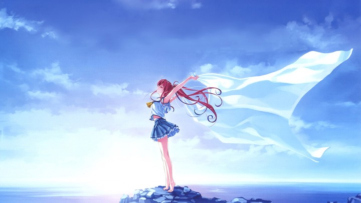 Miyamae Tomoka Deep Blue Sky Pure White Wings Anime