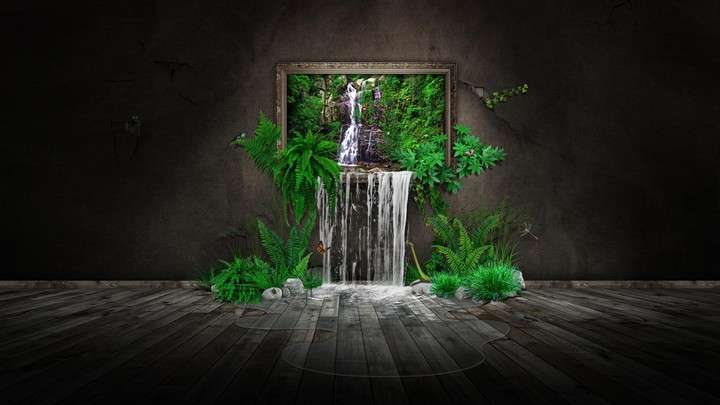 Nature In House Waterfall Wall Wood