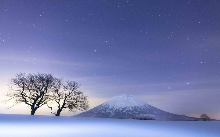 Night, Sky, Snow, winter