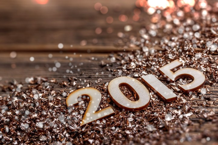 New Year 2015 Greetings Gold Rock Wood