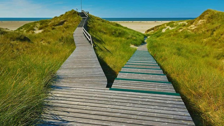A boardwalk in Norddorf on Amrum Island, Germany