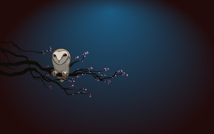 Owl Sitting On A Flowering Branch