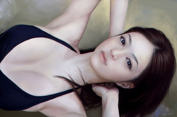 Painting Art Girl Lies Arms Neck Asian Face Eyes Eyes