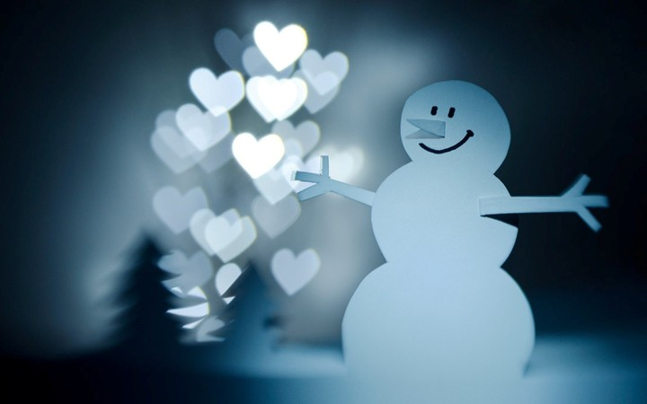 Paper Snowman Hearts Lights Christmas Trees Hd