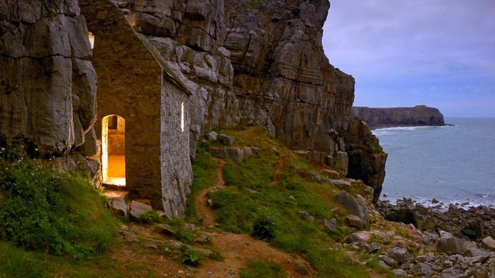 Saint Govan's Chapel in Pembrokeshire Coast National Park, Dyfed, Wales