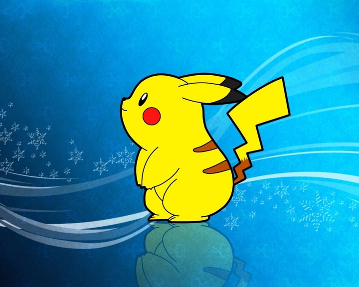 Pikachu Pokemon Yellow On Christmas Snowflakes Background