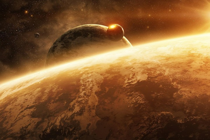 planets Earth and Mars in space, red galaxy, bright red sun
