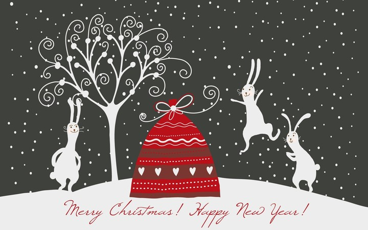 Christmas background with Lovely little rabbit and santa bag on a winter glade