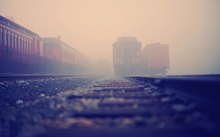 Railroad Train Rails Fog landscape background