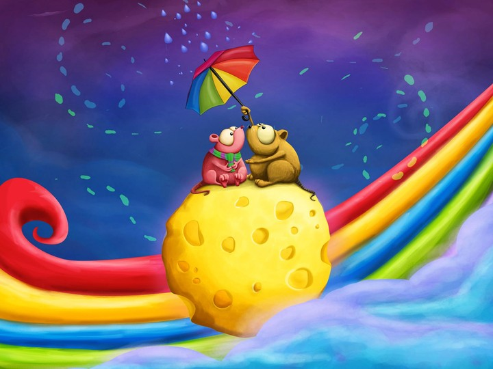 Rainbow Two Couple Mice Umbrella Cheese Date Drawing 3d Design Background