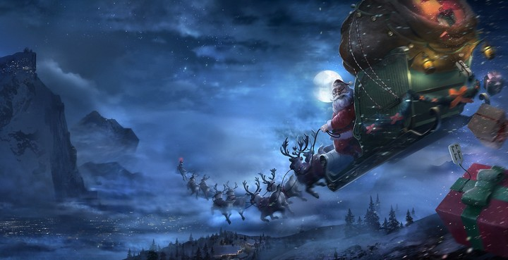 Santa delivering gifts on Christmas Eve night with the moon in the background