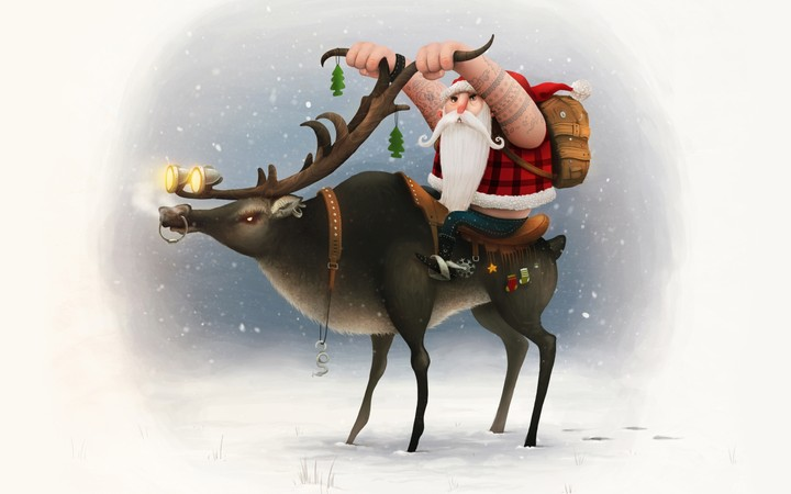 Santa Claus ridding his reindeer on snowy