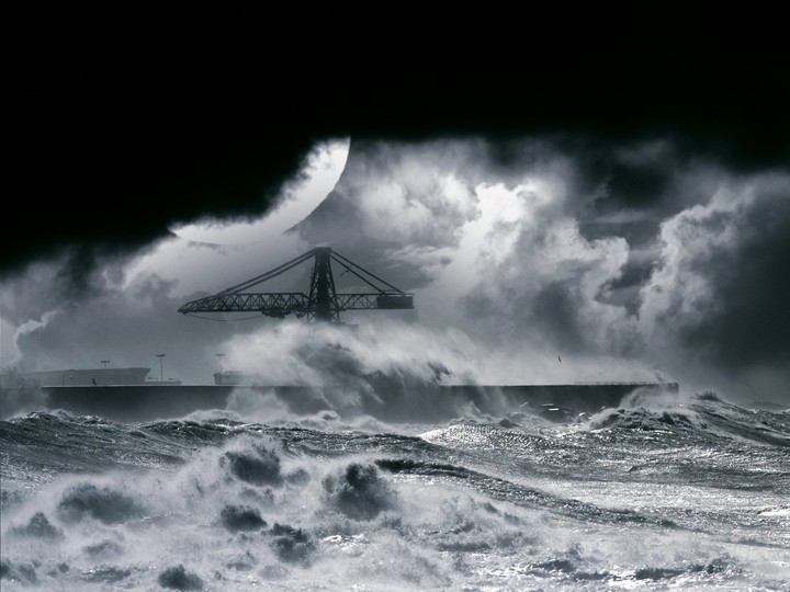 Night Stormy Sea With Big Waves And moon
