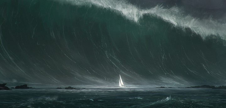 Sail ship in storm sea