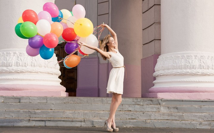 Smile Girl Colorful Balloons