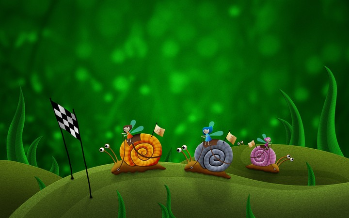 Snails Race Drawing Green