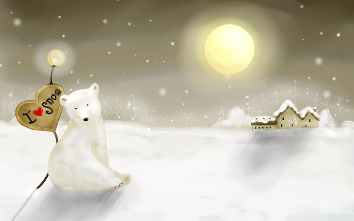 Cold Winter Night With Full Moon And Rain Snow, Polar Bear Sitting Under A Lamp Near A House Covered Snow