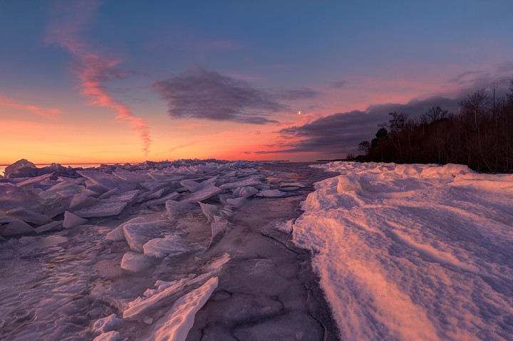 Snow Ice Lake Forest Beach Nature Sunrise