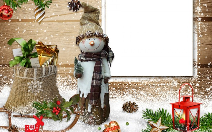 Snowman Christmas Card Inser Text Happy New Year For Family Hd