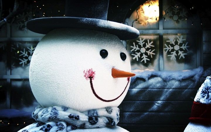 Snowman With Carrot Nose And Black Topper Head Hd