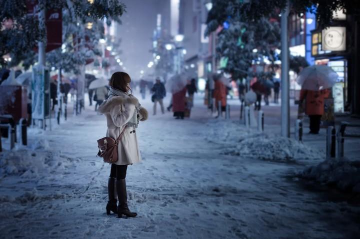 Snowy Day City Tokyo Girl Street Snow