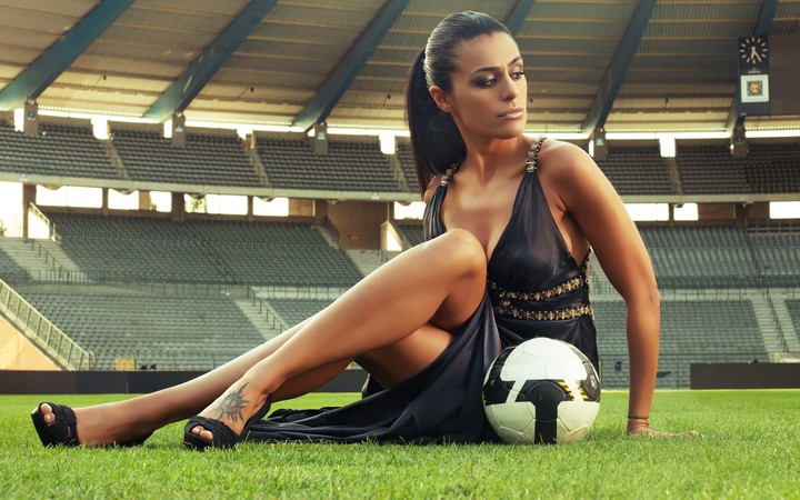 Soccer Football Girl With The Ball Stadium