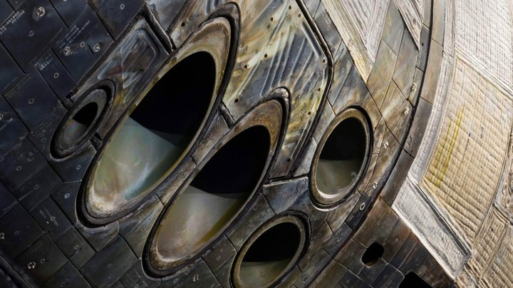 Close-up of the nose of space shuttle Atlantis on exhibit at Kennedy Space Center, Florida