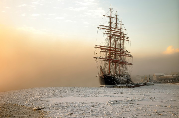 St Petersburg Barque Sedov January Frost