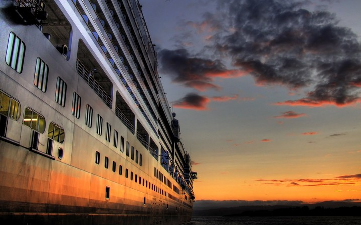 luxury cruise ship at sunset