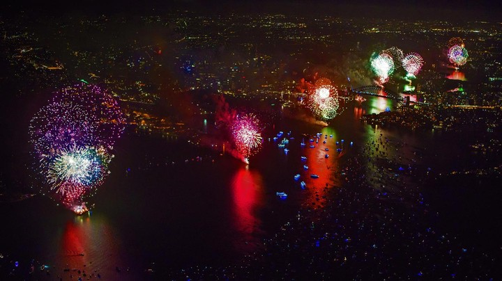 New Year's Eve fireworks above the Sydney Harbour Bridge in Sydney, Australia