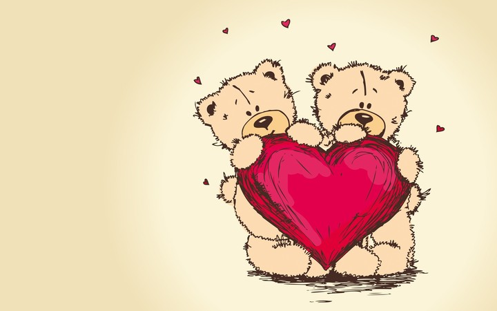 Couple Teddy with red heart