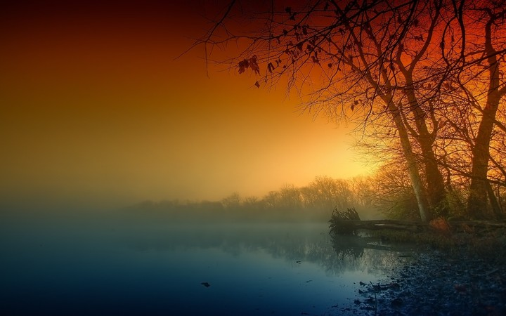autumn lake in the morning mist