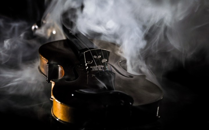 Violin and smoke