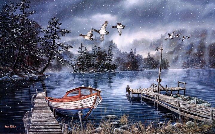 Watercolor Painting Lake And Woods Snow Winter Dock Ducks Boat