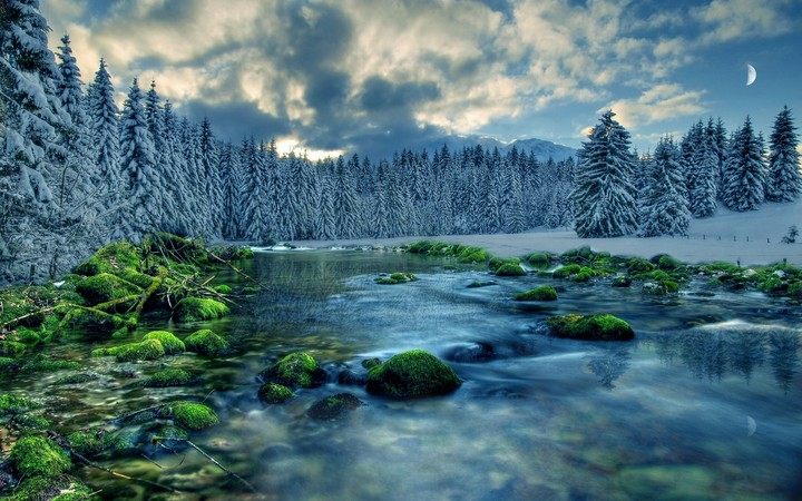 Winter Landscape River Forest Trees Sky Clouds Snow