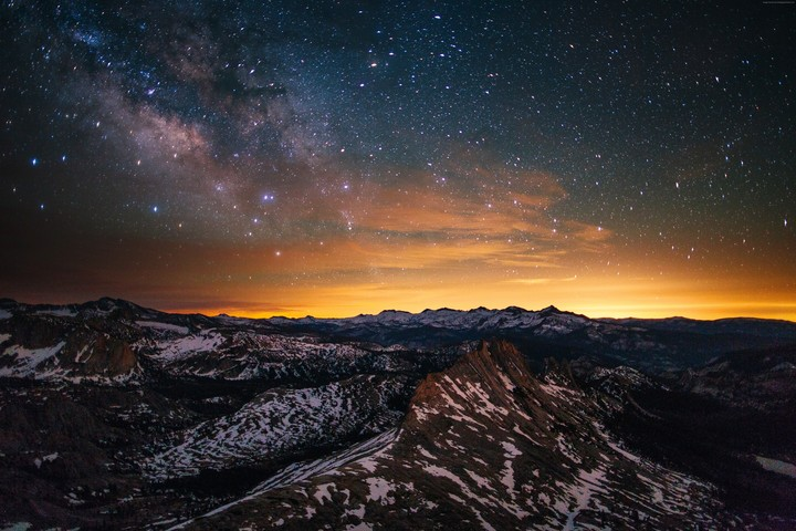 Yosemite, Forest, Stars, Sunset